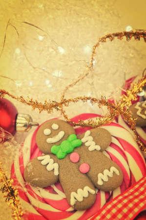 gingerbread man: Gingerbread man Christmas lollipop closeup