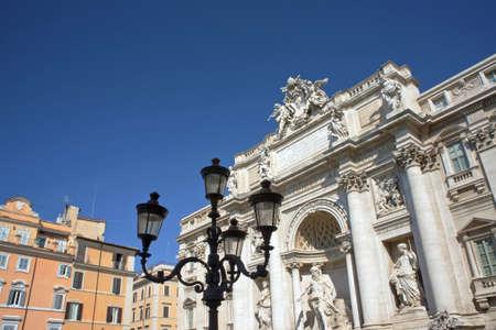 Trevi fountain on blue sky - Rome Italy Editorial