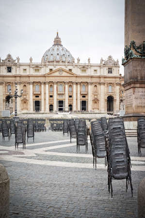 st  peter's square: Preparation for the general audience in St Peters square at the Vatican Rome Italy