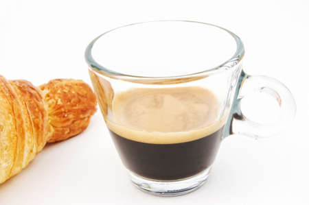 espresso cup: Espresso coffee and croissant on white background Stock Photo