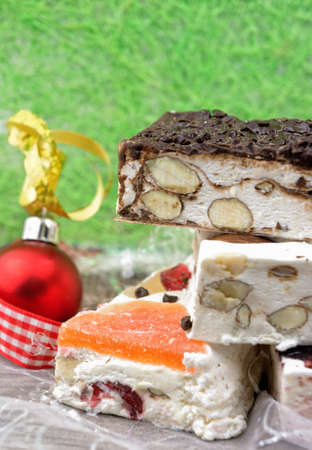 nougat: Variety of Christmas nougat with copy space Stock Photo