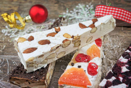Variety of Christmas nougat with decorations