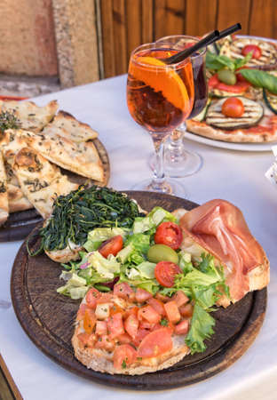 Inviting italian dishes on the table Stock Photo