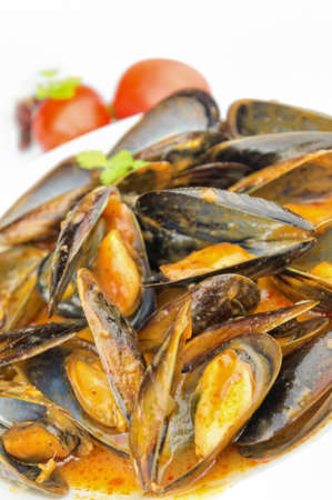 Mussels soup with copy space Stock Photo