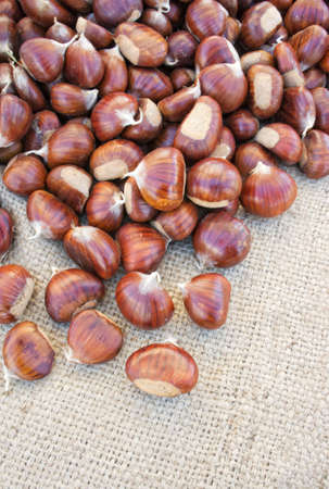Organic chestnuts for sale with copy space