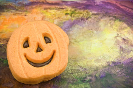 Colorful Halloween pumpkin cookie