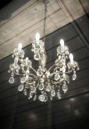Crystal chandelier hanging with copy space