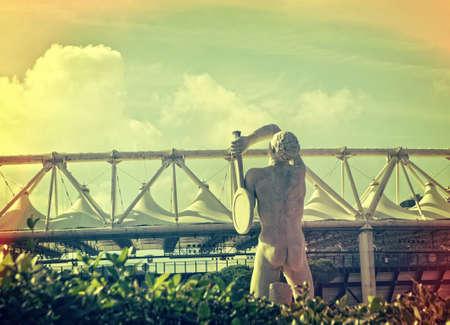 Tennis player statue in Foro Italico , Rome Italy