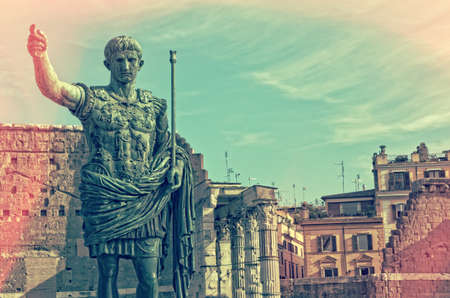 Statue of Augustus in the Forum - Rome Italy Stock Photo
