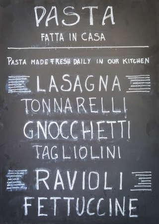 Traditional italian menu sign