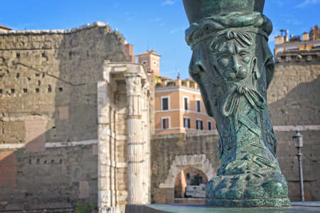 Ruins and statue in the Roman Forum -Rome Italy