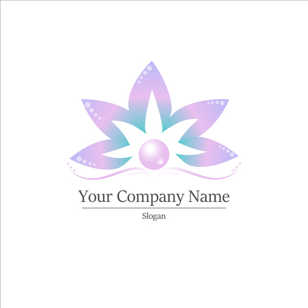 Colored Lotus logo template on white background. Vector illustration.