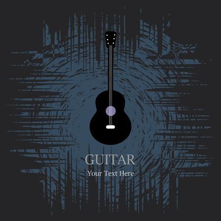 Guitar icon vector illustration on dark grunge background. Иллюстрация
