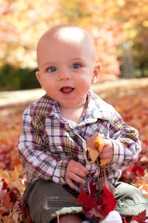 Adorable blue eyed blond baby playing in fall leaves Reklamní fotografie