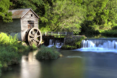 mill and water wheel Banco de Imagens