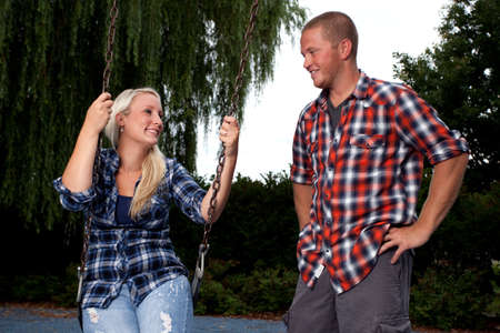 flannel: Happy young attractive couple