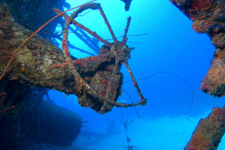 archaeology: Underwater Caribbean shipwreck wheel