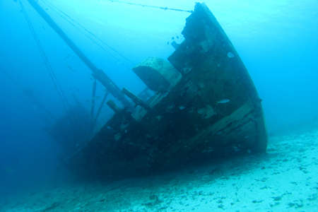 ship wreck: Underwater Wooden Caribbean shipwreck