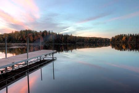 Autumn night along lake