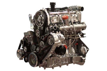 zylinder: Benzin-Motor Closeup isoliert auf weiss  Lizenzfreie Bilder