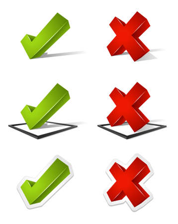 reject: Various three dimensional green check marks and red x marks  Labeled Global Color Swatches for ultra simple color editing  EPS10 Vector  Illustration