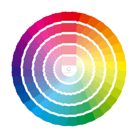 Color swatches in a full circle color wheel  Labeled Global Color Swatches for ultra simple color editing  EPS10 Vector