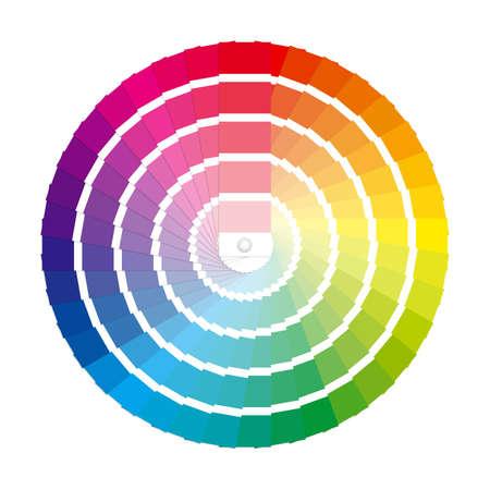 Kleurstalen in een volledige cirkel kleurenwiel Labeled Global Kleurenmonster voor ultra eenvoudige kleur bewerken EPS10 Vector