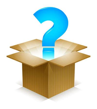signo de interrogaci�n: Signo de interrogaci�n azul en la luz brillante, flotando fuera de una caja de cart�n corrugado con etiquetas Muestras de color globales para el color de ultra sencillo de edici�n vectorial EPS10 Vectores