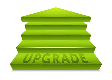 upgrade: Green staircase pointed upward, ending at an arrow point  Text reading upgrade embedded in the bottom step  Labeled Global Color Swatches for ultra simple color editing  EPS10 Vector  Illustration