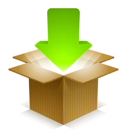 corrugated cardboard: Download arrow icon pointing downward into a corrugated cardboard box with beams of light shining out of it  Labeled Global Color Swatches for ultra simple color editing  EPS10 Vector