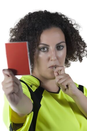 woman dressed as a referee with a whistle and card in hand Stock Photo - 14568291