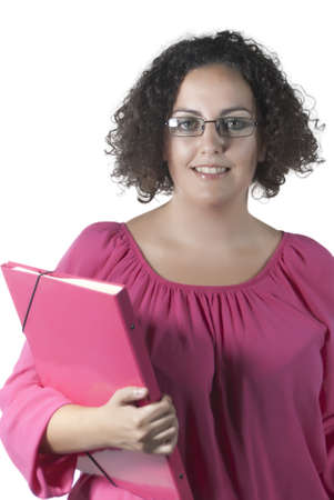 Happy smiling positive young woman holding office supplies photo