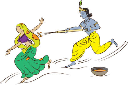 dhulandi: Calligraphic Krishna Playing Holi With Gopi Vector Art