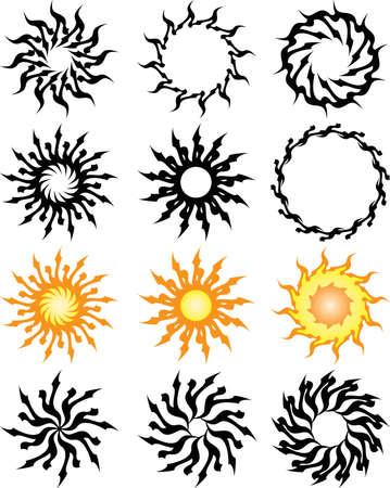 Tattoo Sun, Flame Tribal Design Vector Art Vector