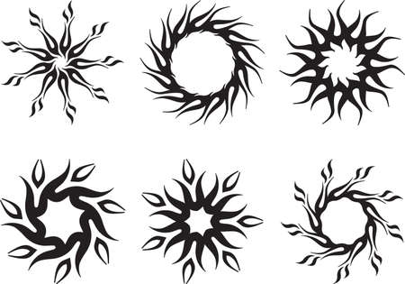 Tattoo Sun, Flame Tribal Design Vector Art Vector