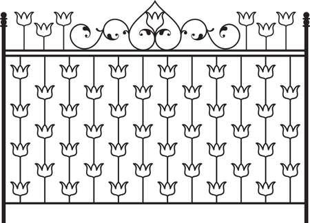 window grill: Wrought Iron Gate, Door, Fence, Window, Grill, Railing Design Vector Art