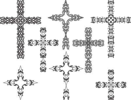 simbolos religiosos: Arte Diseño cruzado cristiano Vector