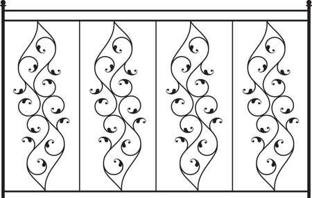 그릴: Wrought Iron Gate, Door, Fence, Window, Grill, Railing Design Vector Art