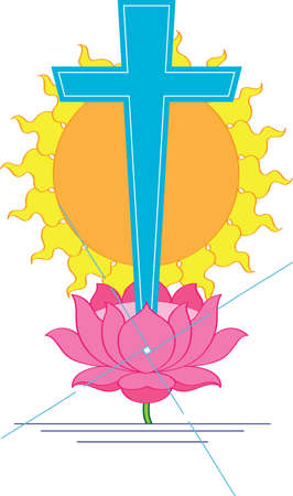 Cross Christian On Lotus Flower Vector Art Vector