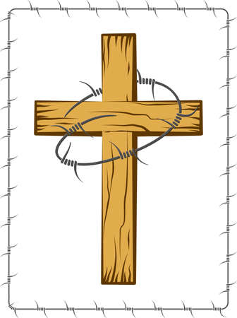 Wooden Christian Cross With Barbed Wire Vector Art Vector