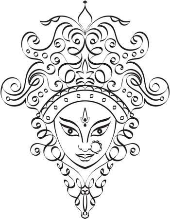 Durga Goddess of Power Vector Art Illustration