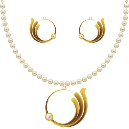 earrings: Pearl Gold Jewellery Necklace, Earrings, Pendent Vector Art Illustration