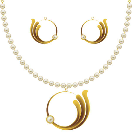 Pearl Gold Jewellery Necklace, Earrings, Pendent Vector Art Illustration