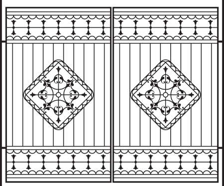iron fence: Wrought Iron Gate, Door, Fence, Window, Grill, Railing Design Vector Art
