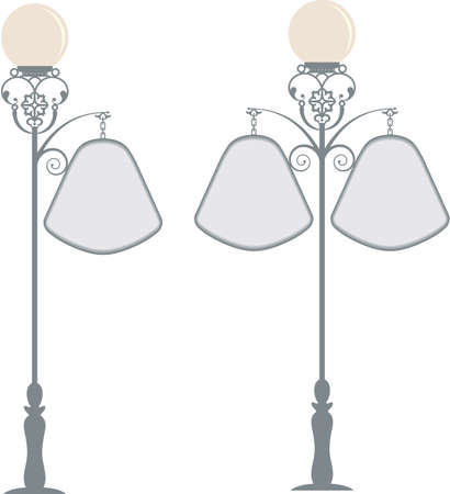Wrought Iron Signage With Lamp, Lantern Vector Art Vector