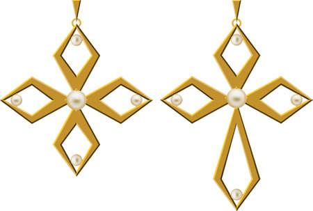 gold cross: Pearl Gold Cross Jewellery Necklace Vector Art