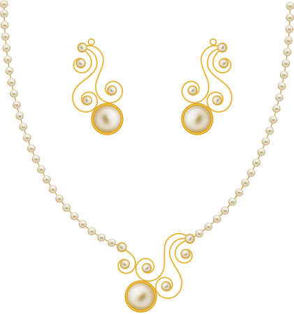 pendent: Pearl Gold Jewellery Necklace, Earrings, Pendent Vector Art Illustration