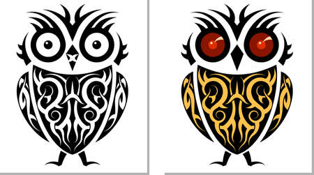 Tattoo Owl Design Vector Art