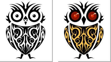 Tattoo Owl Design Vector Art Vector