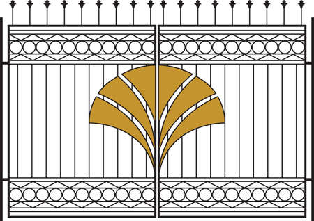 iron gate: Wrought Iron Gate, Door, Fence, Window, Grill, Railing Design Vector Art